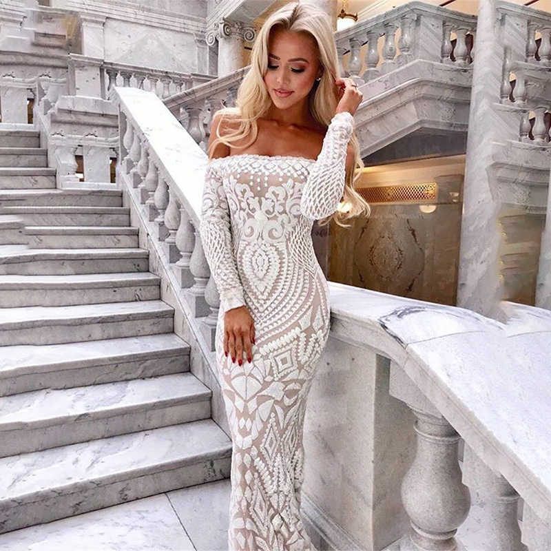 NATTEMAID Off Shoulder Maxi White long Dress 2019 Mesh Bodycon Sequin Dress Women Strapless Party Sexy summer Dresses Vestido