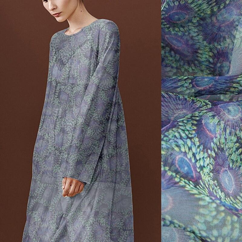 135 CM de large 6 MM violet bleu imprimé Floral mince soie Organza tissu pour été mariage robe de soirée jupe C035