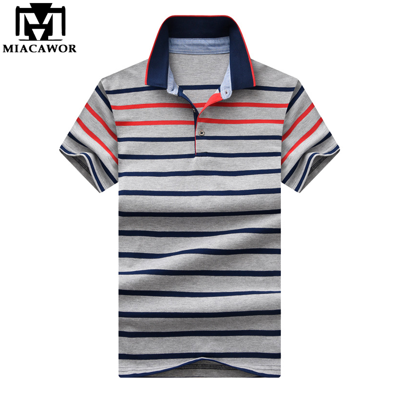 MIACAWOR New Striped Men Cotton Short-sleeve Homme Baseball   Polo   shirts Slim Fit Casual Mens Clothing MT640
