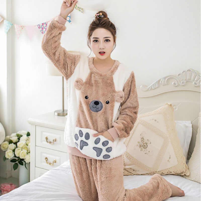 FL057D Koreanische Flanell Nachtwäsche Dessous Pyjama Pyjama Frauen Pyama Frau Pijama Mujer Pigiama Donna Pyjama Femme Nacht Anzug