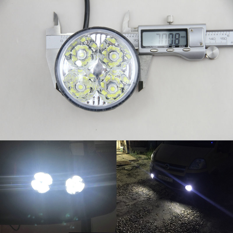High power 12v Universal Car Truck Fog Light 4LED Bright White Round Car front head light LED Car Daytime Running Light DRL