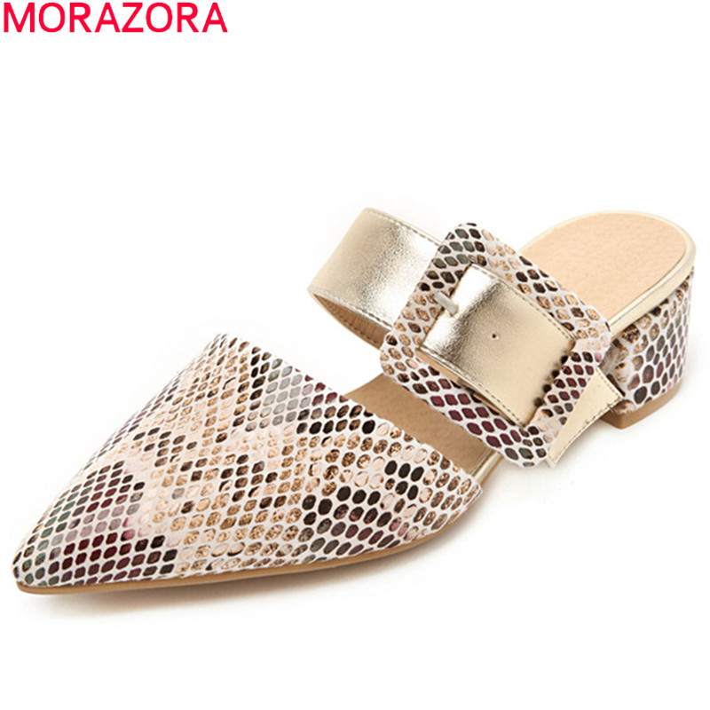 MORAZORA 2019 Plus Size 48 Women Pumps Buckle Pointed Toe Low Heels Shoes Fashion Summer Party Wedding Shoes Woman Mules