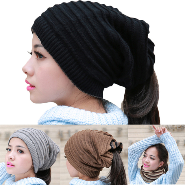 Winter Hat Girl Ponytail Beanie Hat Women Skullies Knit Warm Caps  Multifunctional Stylish Scarf Cap Slouchy d318357dba1