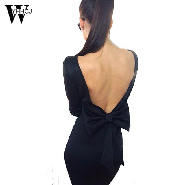 Wyhhcj 2017 women dress sexy slash cuello rodilla-longitud lápiz party dress arco sin respaldo vestidos casuales