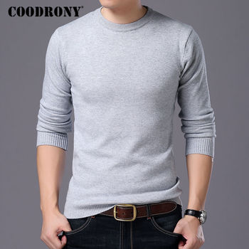 COODRONY Sweater Men Autumn Winter Warm Mens Knitted Wool Sweaters Solid Color Casual O-Neck Pull Homme Cotton Pullover Men 7209 1
