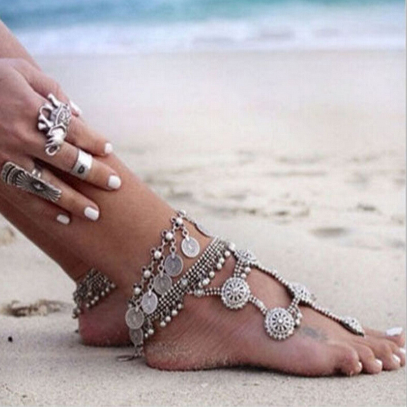 new chaine cheville femme foot chain gypsy old turkish coin silver anklet ankle bracelet beach. Black Bedroom Furniture Sets. Home Design Ideas