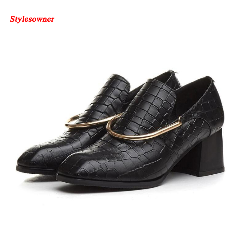 ФОТО Stylesowner real cow leather pumps women 2017 black thick heels square toes metal ring fashion woman slip on spring autumn shoes