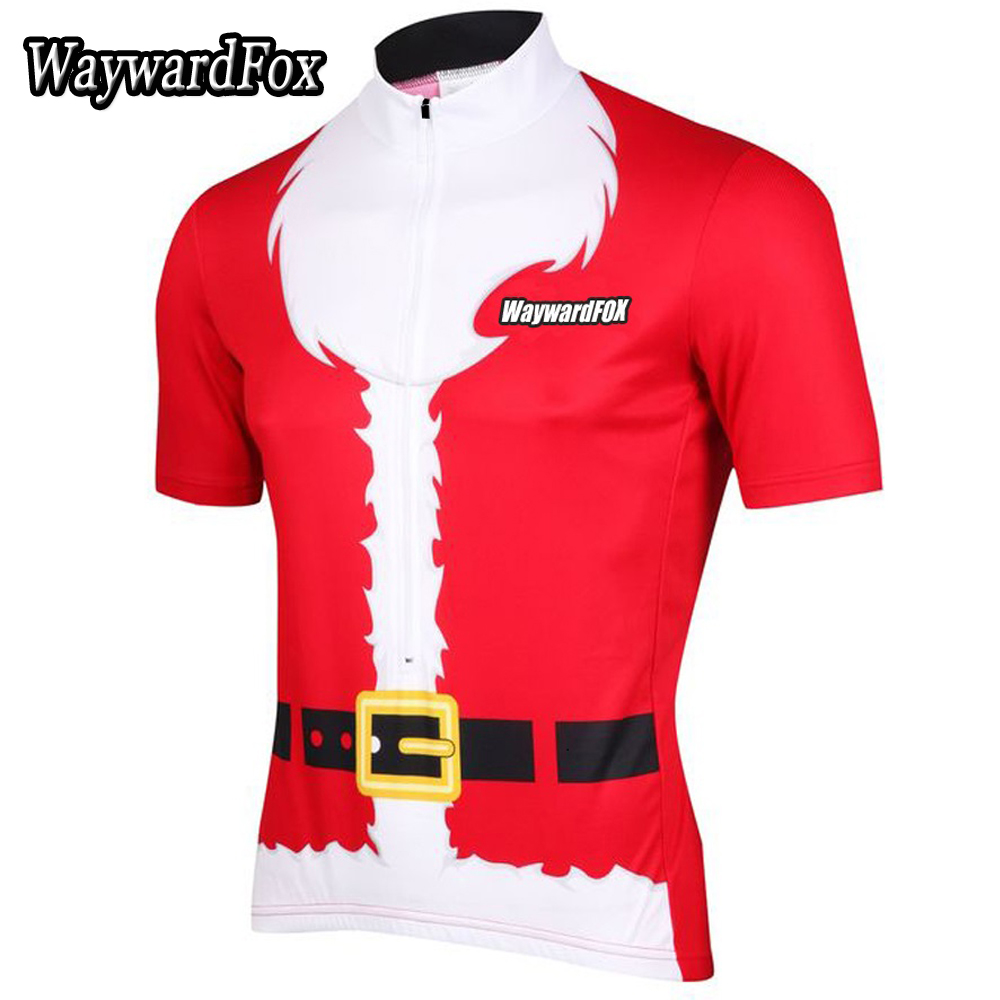 NEW Cycling Jersey Short Sleeve Santa Christmas Red Bike Clothing Bicycle Wear Short Sleeve Ropa Ciclismo Maillot