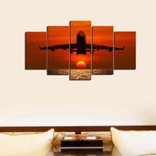 Airplane Wall Art for Kids Room Art Print Picture Red Sunset On The Sea Poster Canvas Painting For Home Decorations Dropshipping