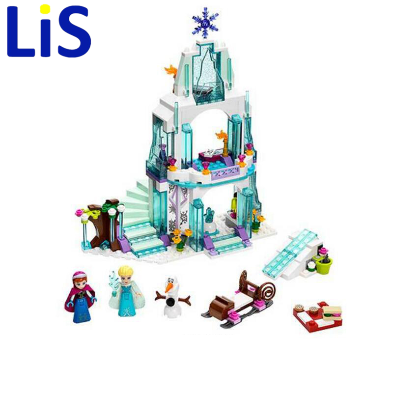 Lis JG301 SY373 Anna Elsa Snow Queen Elsa's Sparkling Ice Castle Building Toys Blocks Brick Compatible Lepin with Toys lele 79168 elsa queen lainio snow village bricks toys minifigures building block toys best legoelieds