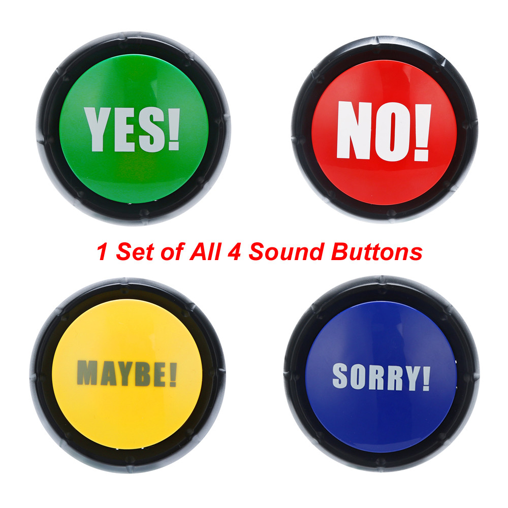 4Pcs 1Set YES NO MAYBE SORRY Button Gag Sound Button Toy Prank Event Party Tool Funny Trick Practical Joke Toys for Kids Child prank chips bounce snake trick toys