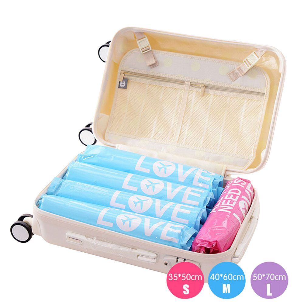 2pcs Vacuum Compression Bags Waterproof Clothing Organizer Bag Travel Suitcase Hand Pressure Type Portable Package