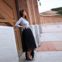 Classical Black Tulle Skirt Custom Made A Line Tee Length Midi Skirt Elegant Spring Autumn Tutu