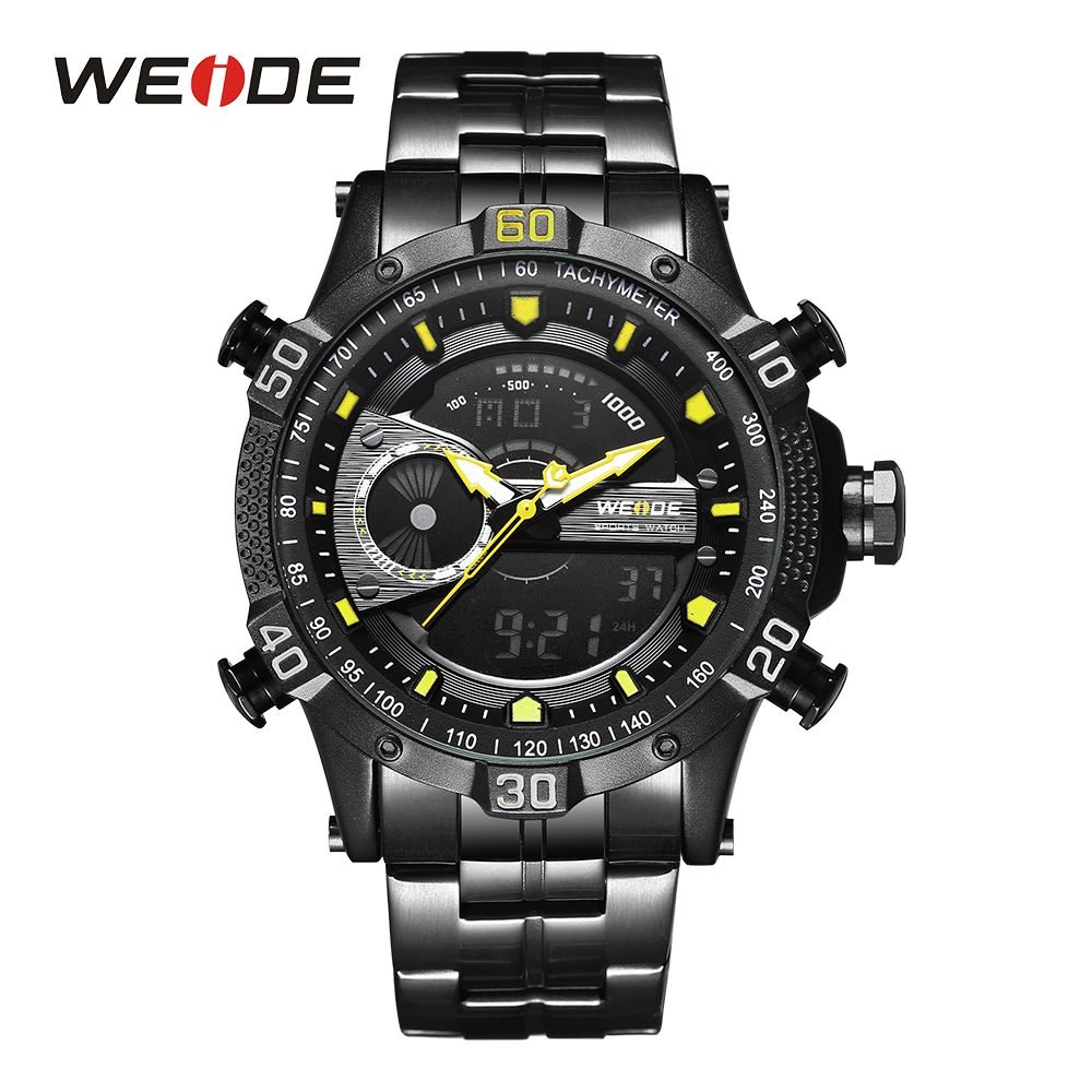 WEIDE Men Black And Yellow Watch Digital Stopwatch Sport Wristwatch Auto Date Day Analog Clock Quartz Stainless steel Band Alarm weide men black running outdoor date day repeater back light stopwatch sports quartz watch alarm clock strap military wristwatch