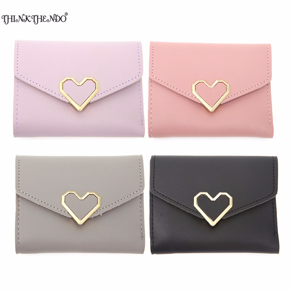 THINKTHENDO Hot Love Heart Short Wallet Purse For Fashion Lady, Lovely Mini Day Clutch & Small Women Wallet For Card Coin Photo aidocrystal heart shape factory direct sell fashion woman diamond clutch for lady