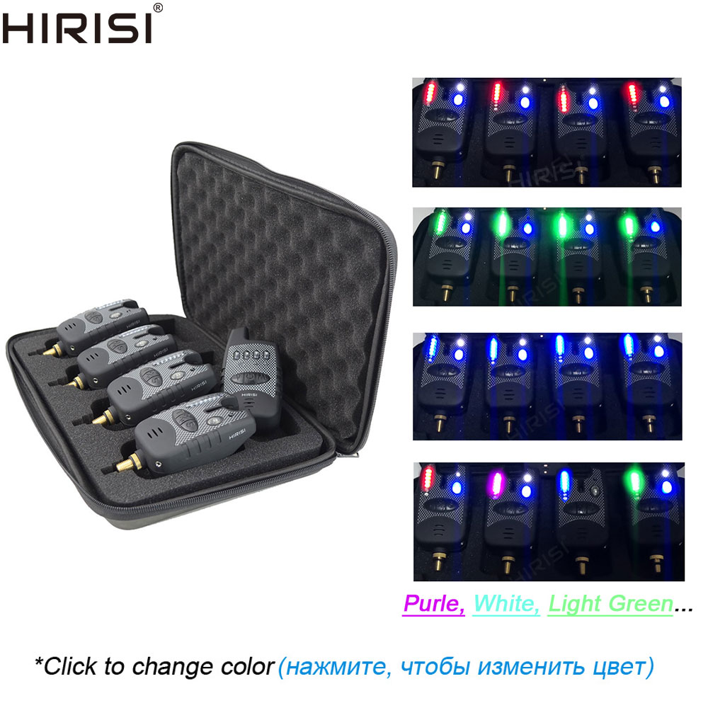 Wireless Fishing Bite Alarms with Receiver 8 LED Band Adjustable LED Light Color 1 4 Set