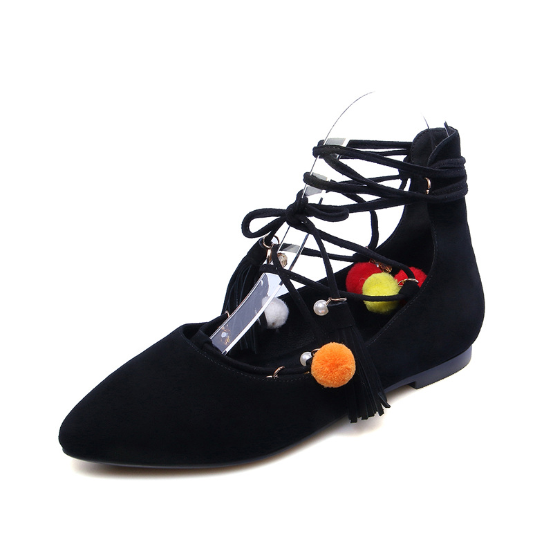2017 Spring Brand New Mink Hair Ball Women Flats Shoes Pointed Toe Fashion Suede Ankle Strap Flat Heel Casual Shoes Black Brow kbstyle 2017 new spring shoes for women brand pointed toe womens flats fashion young ladies casual shoes hot sale wholesale