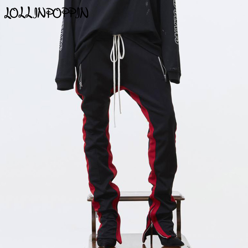 Bande latérale Couleur Contrastée Hommes Pantalons De Survêtement Ouverture Zippée Sur La Jambe De Poches À Glissière survêtement Pantalon Pour Hommes Taille Élastique