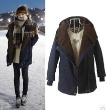 free shipping Ms lambs wool lapel long style cotton-padded jacket warm coat