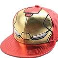 Chapéu de Basebol dos desenhos animados do filme Herói moda Anapback Avengers Homem De Ferro Crianças de Couro de Couro Do Falso hip hop DJ chapéus Casual