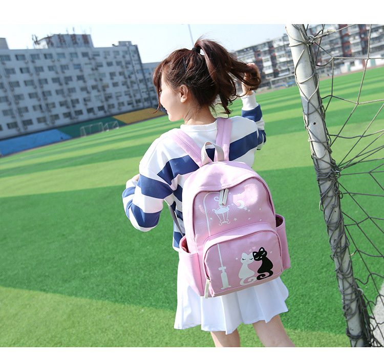 Cute Cat Print Canvas Backpack Pink