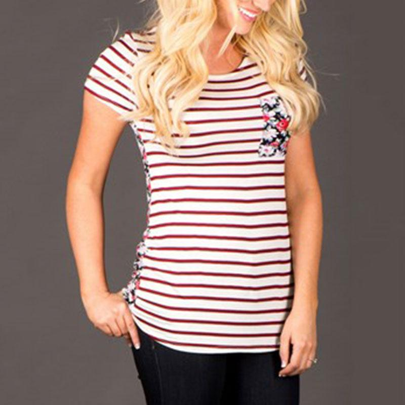 Women T-shirts Summer Front Horizontal Striped Back Floral Printed Short Sleeves O-Neck Female Tee Top Casual Fit Simple Fashion