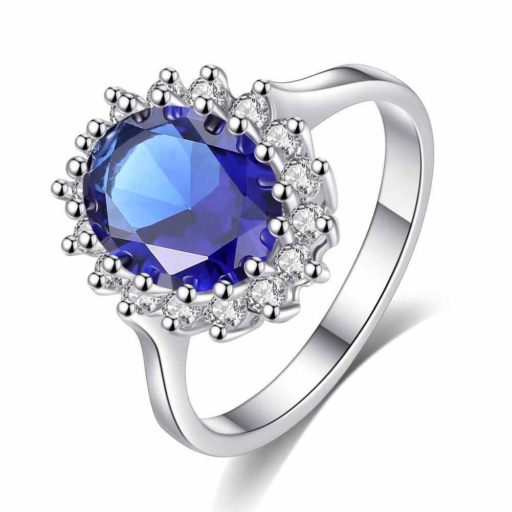 925 Silver Rings  Princess Diana William Kate Middleton's Created Blue Ring Charms Engagement 925 Silver Rings For Women Jewelry