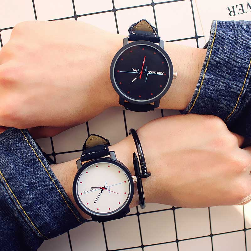 Korea Harajuku Retro Casual Simple Blue Glass ECG Chaobiao Students Watch Lovers Good Dov Mv Love Letters WristWatch