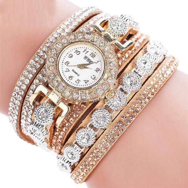 Fashion Gold Women Bracelet Watch Casual Female Rhinestone Leather Quartz Wrist