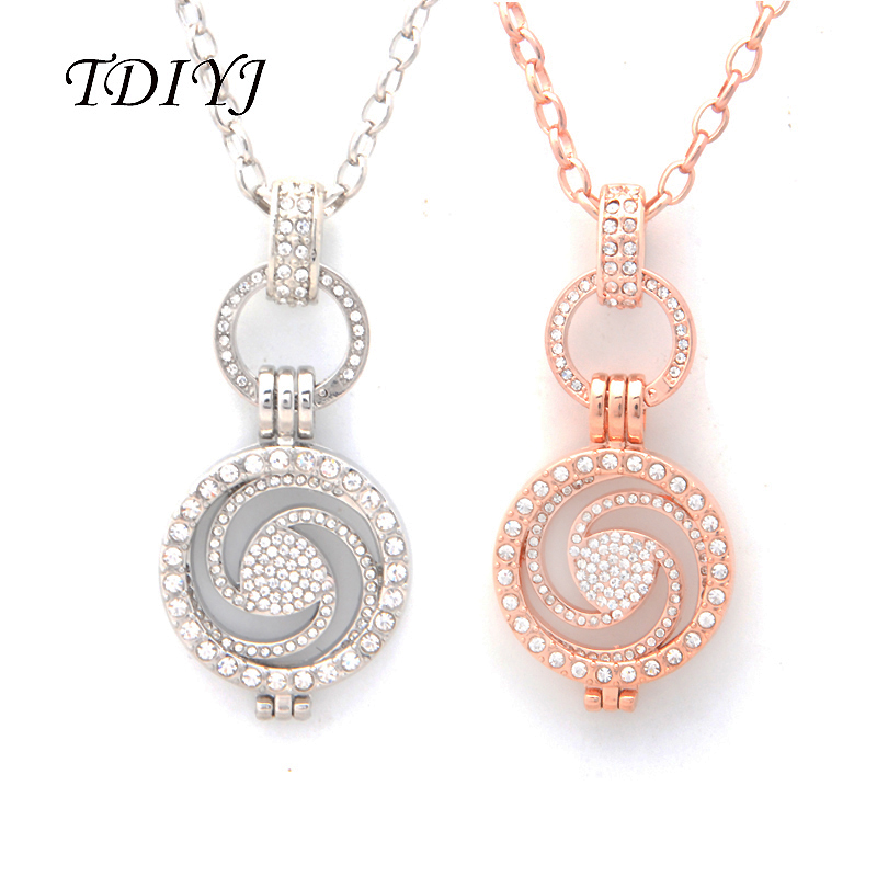 TDIYJ Fashion Silver/Rose Gold My Coin 25MM Crystal Coin Disc Swirl Pendant Necklace 80CM O Shape Chain for Women Jewelry 1Set