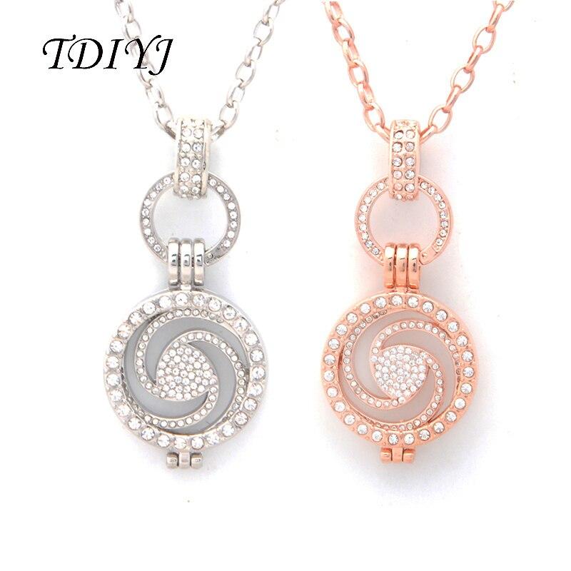 Tdiyj Мода Silver/розовое золото мой Монета 25 мм кристалл Монета диск Вихрем Кулон Цепочки и ожерелья 80 см o Форма цепь для Для женщин jewelry 1 компл.