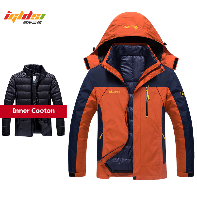 Winter Jacket and Coats Men 2 in 1 Thick Warm Down   Parka   Mountain Jacket Pockets Hooded Fleece Waterproof Windbreaker 5XL 6XL