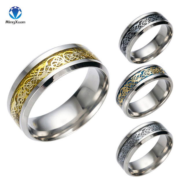 Vintage Gold Free Shipping Dragon 316L stainless steel Ring Mens Jewelry for Men lord Wedding Band 1