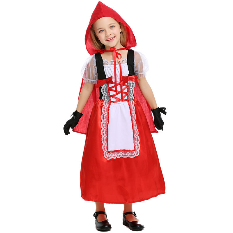 Cosplay Fantasia Carnival fancy dress halloween costume for kids princess little red riding hood cape child kid girls