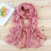 2016 New Hot Sale Stylish Elegant Lace Rose Floral Chiffon Silk Scarves Stitching Summer Scarf For