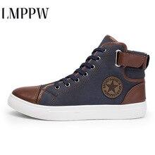 Fashion High Top Canvas Casual Men Shoes Patchwork Men's Vul