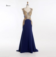 Royal Blue Evening Dresses Gold Appliques 2016 Scoop Neck With Sleeveless Long Mermaid Evening Gown Formal