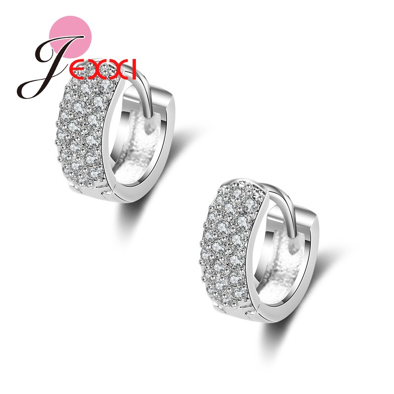 JEXXI Free Shipping Wholesale 1 Pairs Trendy Women/Girl's CZ Diamond Pierced Hoop Earrings Silver Jewelry Gift White Gold Plated