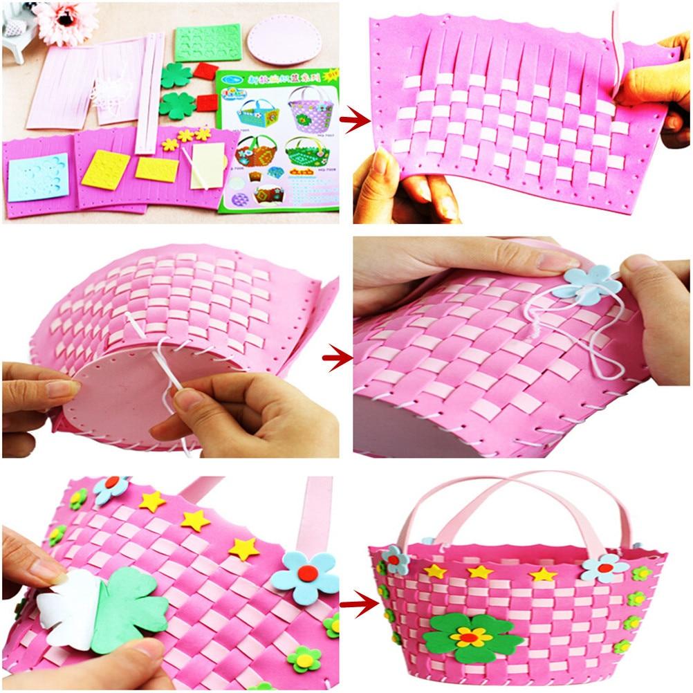 1PC DIY Handmade Knitted Woven Basket Eva Foam Craft Kits Multicolor Kindergarten Kids Educational Toys for Children craft