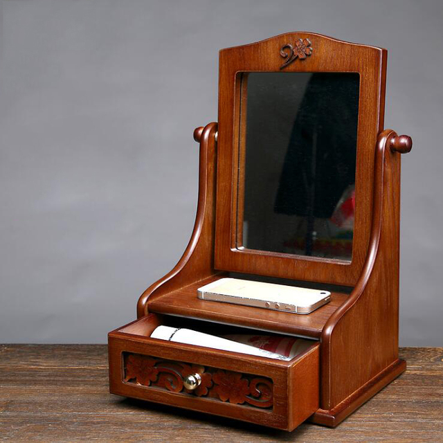 Storage Box Organizador Organizer Desktop Mirror Large Wood Can Be Flipped 360 Degrees Retro Wooden Beauty Hd Princess