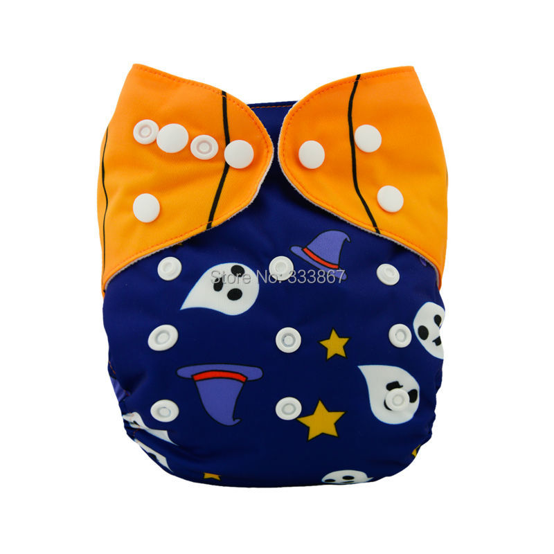ALVABABY Cloth Diaper OneSize Pocket Nappy for Halloween+1 3-Layer Bamboo Insert