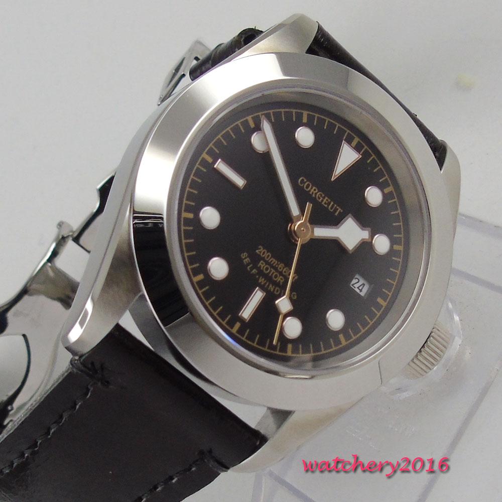 41mm corgeut Black Dial Sapphire Glass Polished Bezel Deployment Clasp Date 21 jewels Miyota Automatic Mechanical men's Watch
