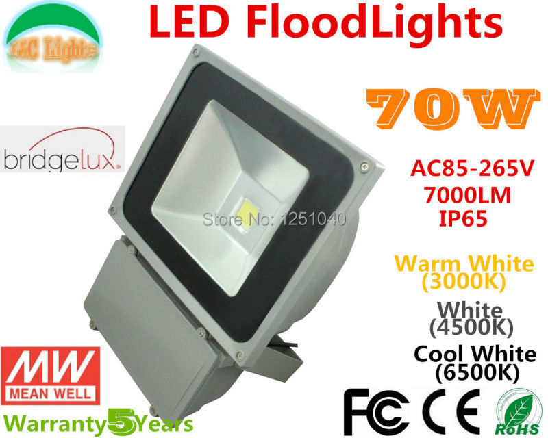 High Quality 70W LED FloodLights,Built Meanwell Power and Bridgelux LED chips,IP65 Outdoor SpotLight Warranty 5 Years 2PCs a Lot high quality 2 years warranty 350w 48v 7 3a power supply