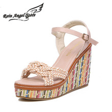 Bohemian Women Fashion Sandals Colorful Heavy-bottomed Wedge Sandals Summer Shoes Platform Buckle