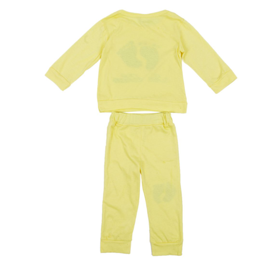 HOT SALE High Quality 100% Cotton baby clothing set,Toddlers children set,baby boys girls 2 pcs Footprints ,Hot sale-Yellow,80