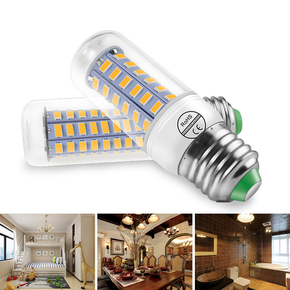 E27 Led Lamp E14 Led Bulb Smd5730 220v Corn Bulb Chandelier Candle Led Light 24 36 48 56 69 72leds Lampada Led Spotlight