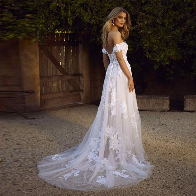 LORIE Lace Wedding Dresses 2019 Off the Shoulder Appliques A Line Bride Dress Princess Wedding Gown Free Shipping robe de mariee 3