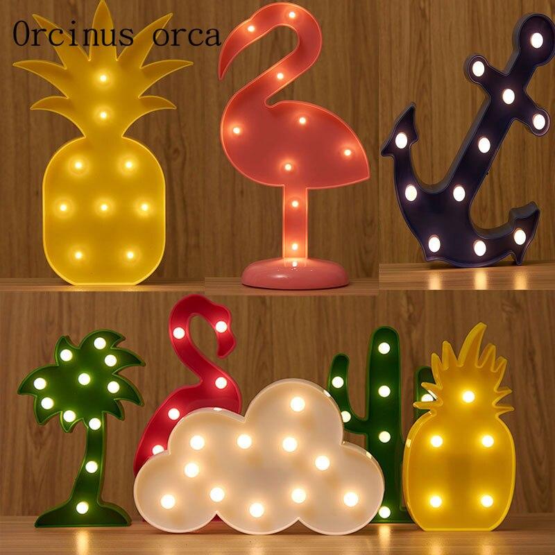 The LOVE alphabet wall decoration girl room creative Nightlight string LED Flamingo cactus shaped lamp free shipping