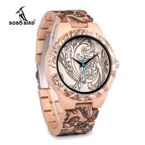Image 2 - BOBO BIRD WO07 montres à Quartz en bois de pin pour hommes montre de tatouage dimpression UV dans une boîte en bois avec outil pour ajuster la taille livraison directe