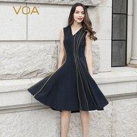 VOA Heavy Silk Midi Dress Women V Neck Summer Dresses Sleeveless Sexy Bodycon Clothes Designer Newest vestidos Navy Blue A10119